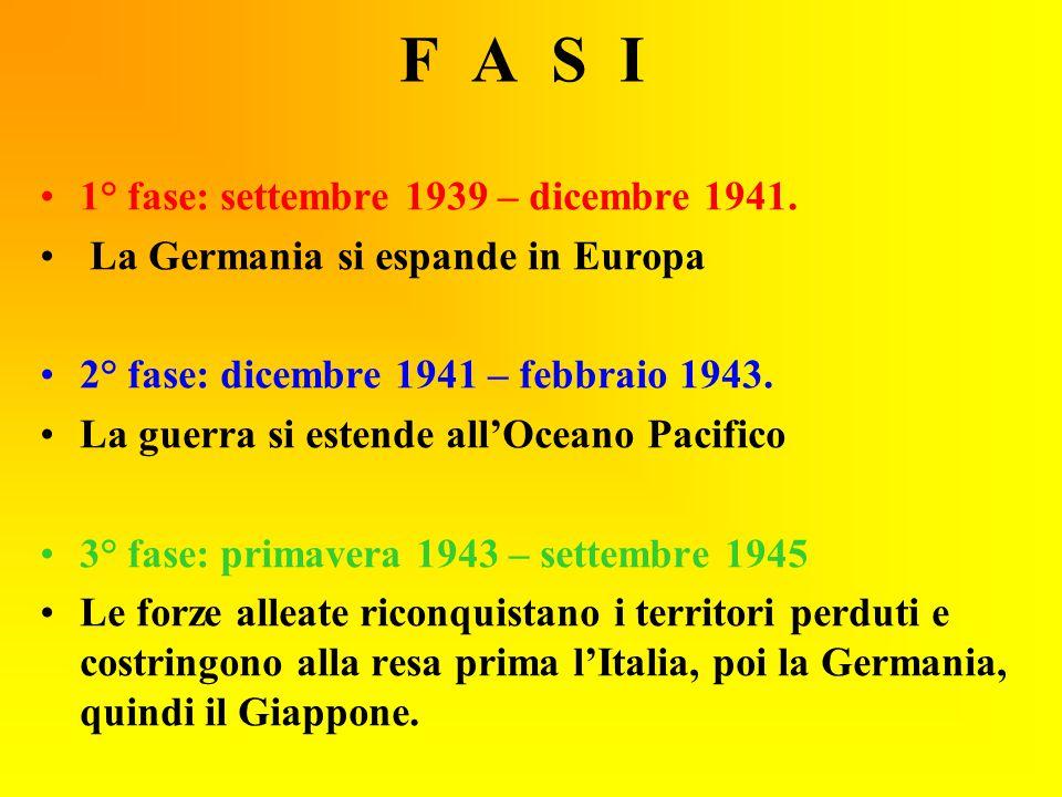 F A S I 1° fase: settembre 1939 – dicembre 1941.