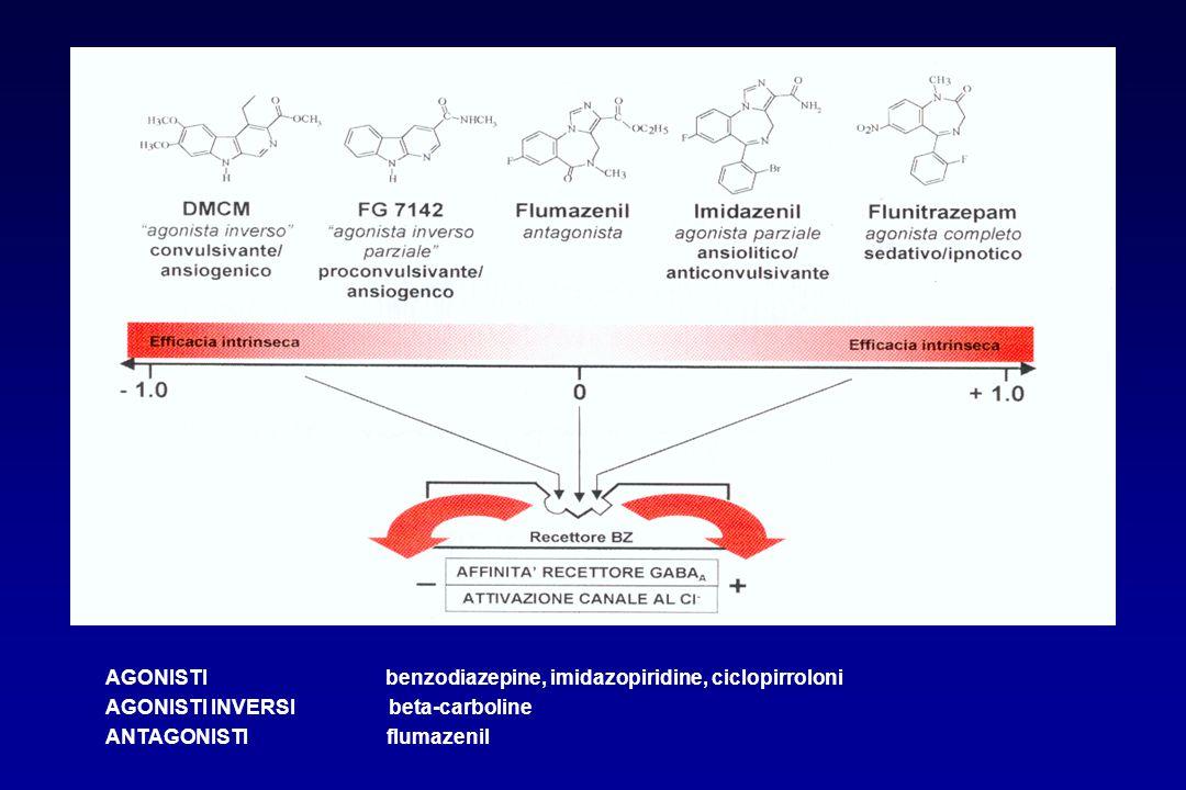 AGONISTI benzodiazepine, imidazopiridine, ciclopirroloni