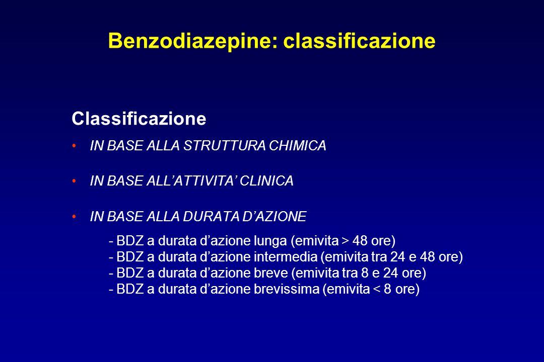 Benzodiazepine: classificazione