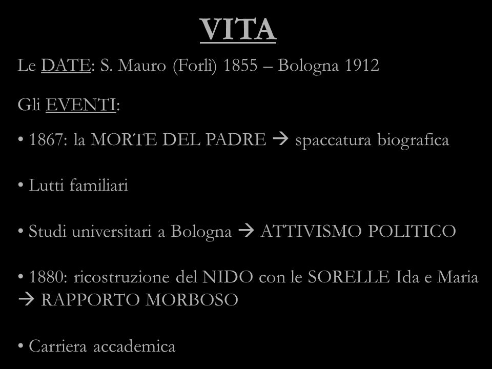 VITA Le DATE: S. Mauro (Forlì) 1855 – Bologna 1912 Gli EVENTI: