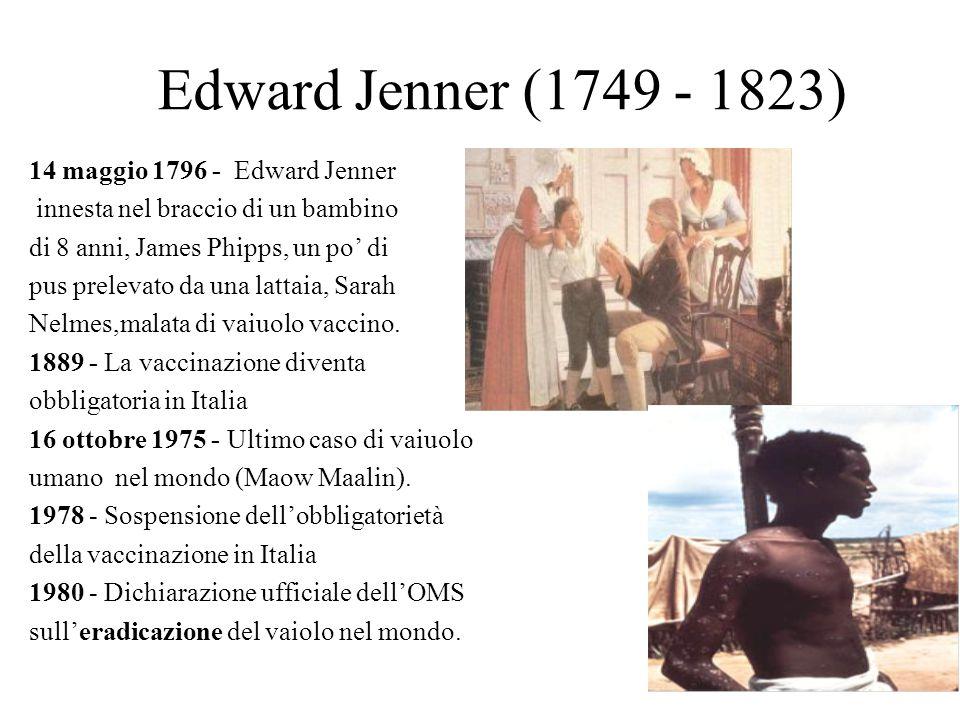 Edward Jenner (1749 - 1823) 14 maggio 1796 - Edward Jenner