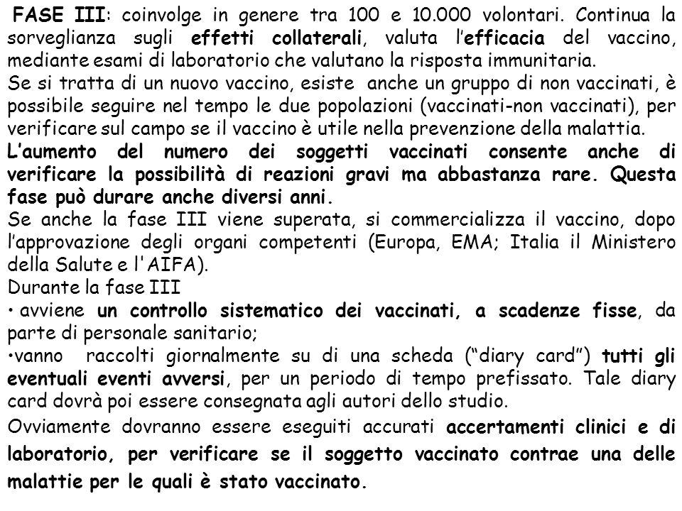 FASE III: coinvolge in genere tra 100 e 10. 000 volontari