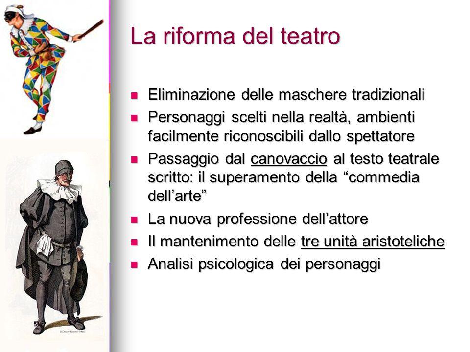 La riforma del teatro Eliminazione delle maschere tradizionali