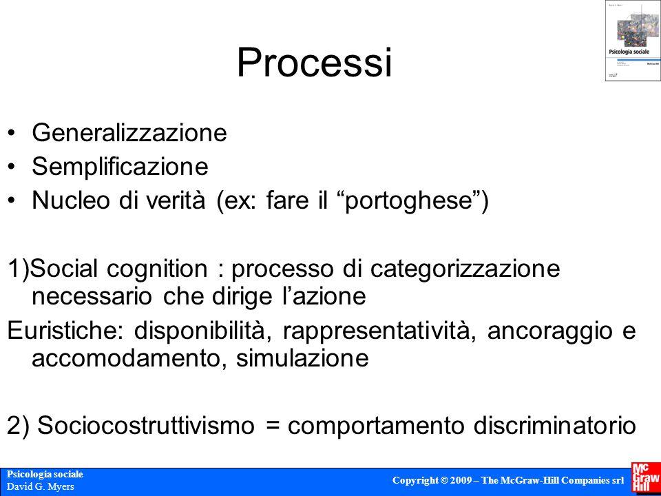 Processi Generalizzazione Semplificazione