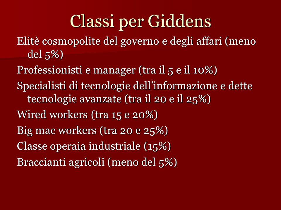 Classi per Giddens Elitè cosmopolite del governo e degli affari (meno del 5%) Professionisti e manager (tra il 5 e il 10%)
