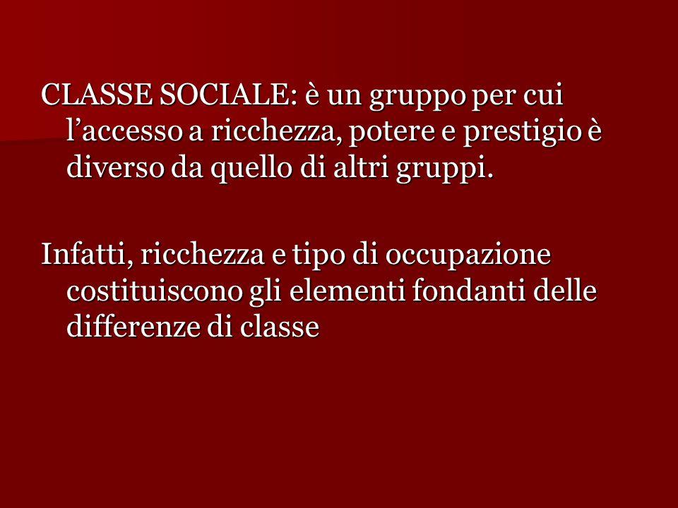 CLASSE SOCIALE: è un gruppo per cui l'accesso a ricchezza, potere e prestigio è diverso da quello di altri gruppi.