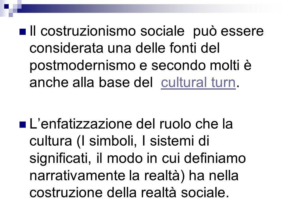Il costruzionismo sociale può essere considerata una delle fonti del postmodernismo e secondo molti è anche alla base del cultural turn.