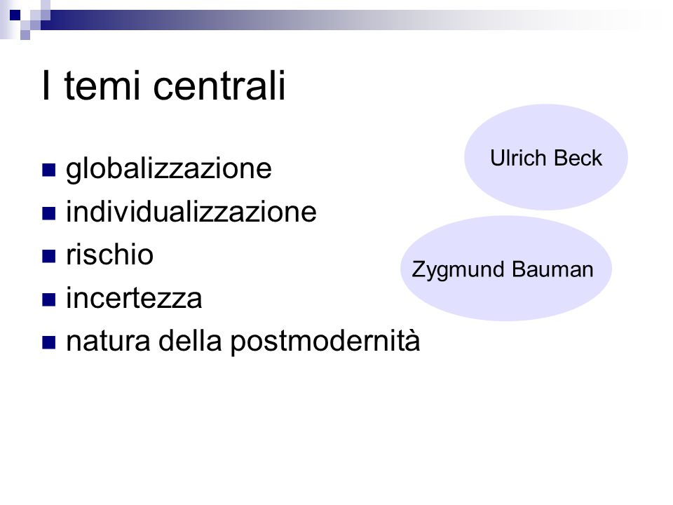 I temi centrali globalizzazione individualizzazione rischio incertezza