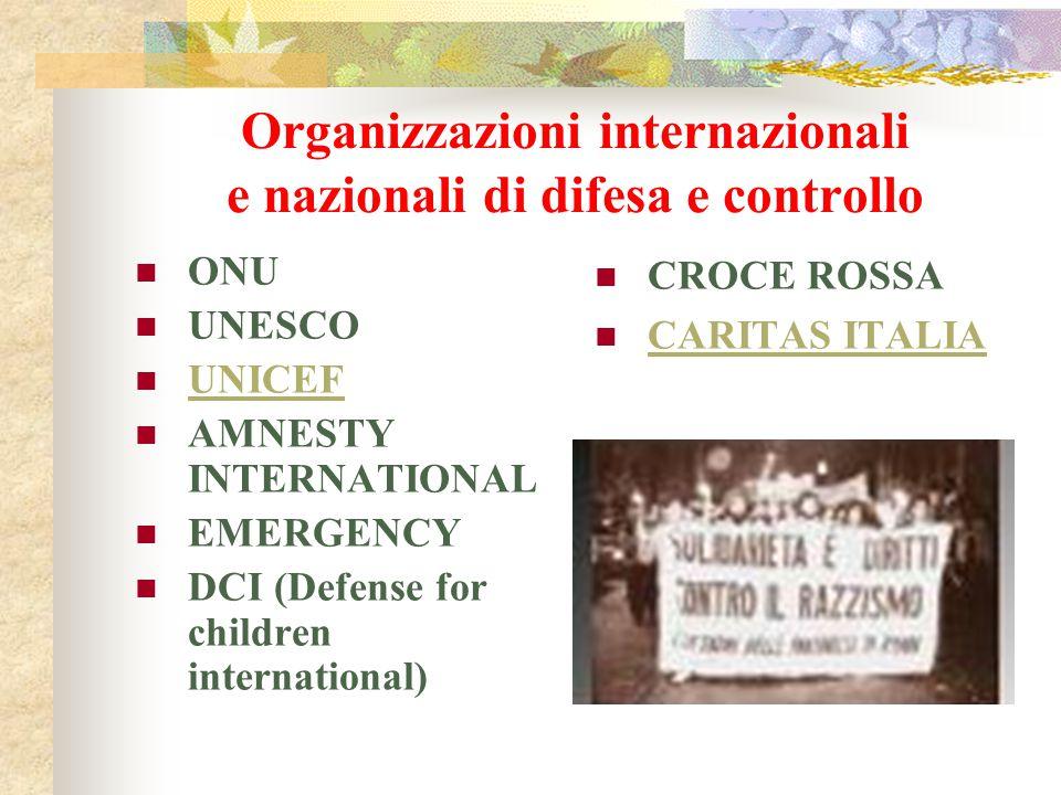 Organizzazioni internazionali e nazionali di difesa e controllo