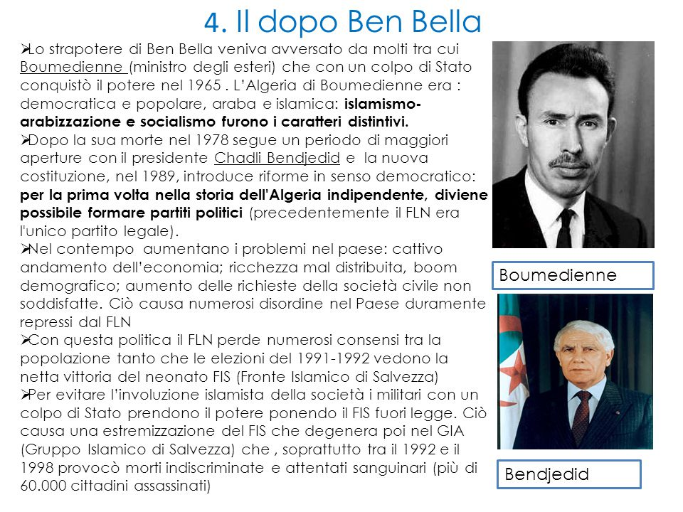 4. Il dopo Ben Bella Boumedienne Bendjedid