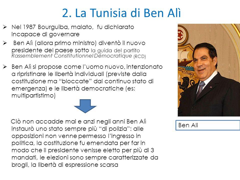 2. La Tunisia di Ben Alì Nel 1987 Bourguiba, malato, fu dichiarato incapace di governare.