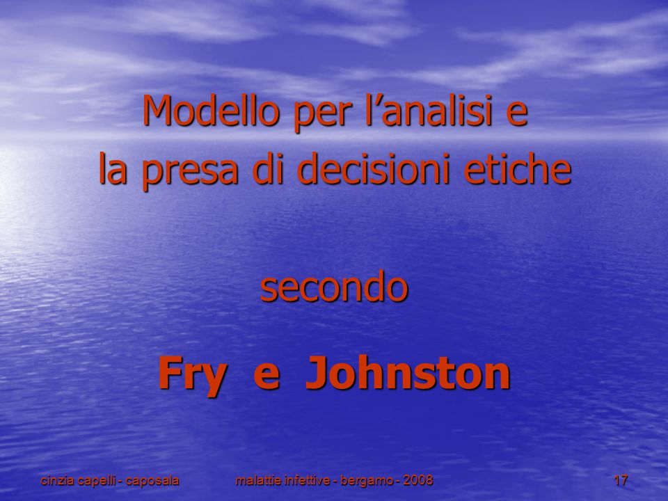 Fry e Johnston Modello per l'analisi e la presa di decisioni etiche