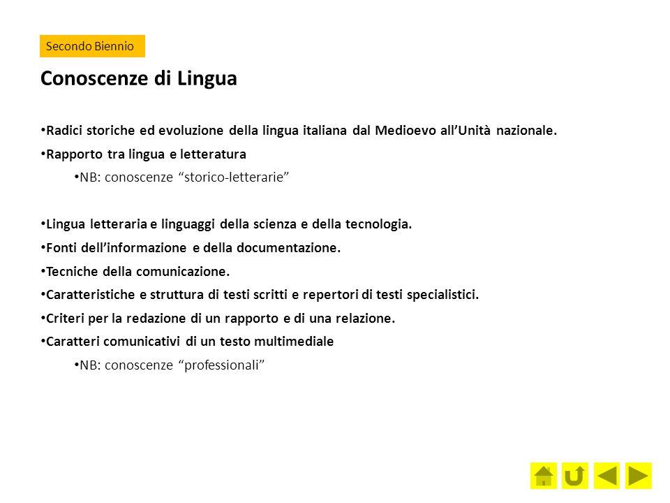Secondo Biennio Conoscenze di Lingua. Radici storiche ed evoluzione della lingua italiana dal Medioevo all'Unità nazionale.