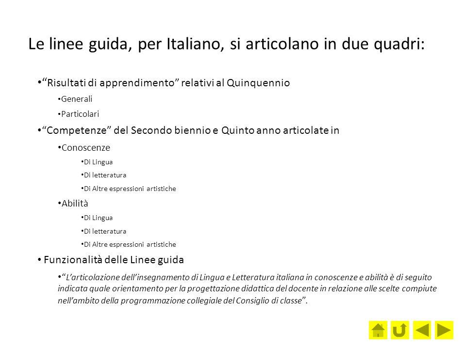 Le linee guida, per Italiano, si articolano in due quadri: