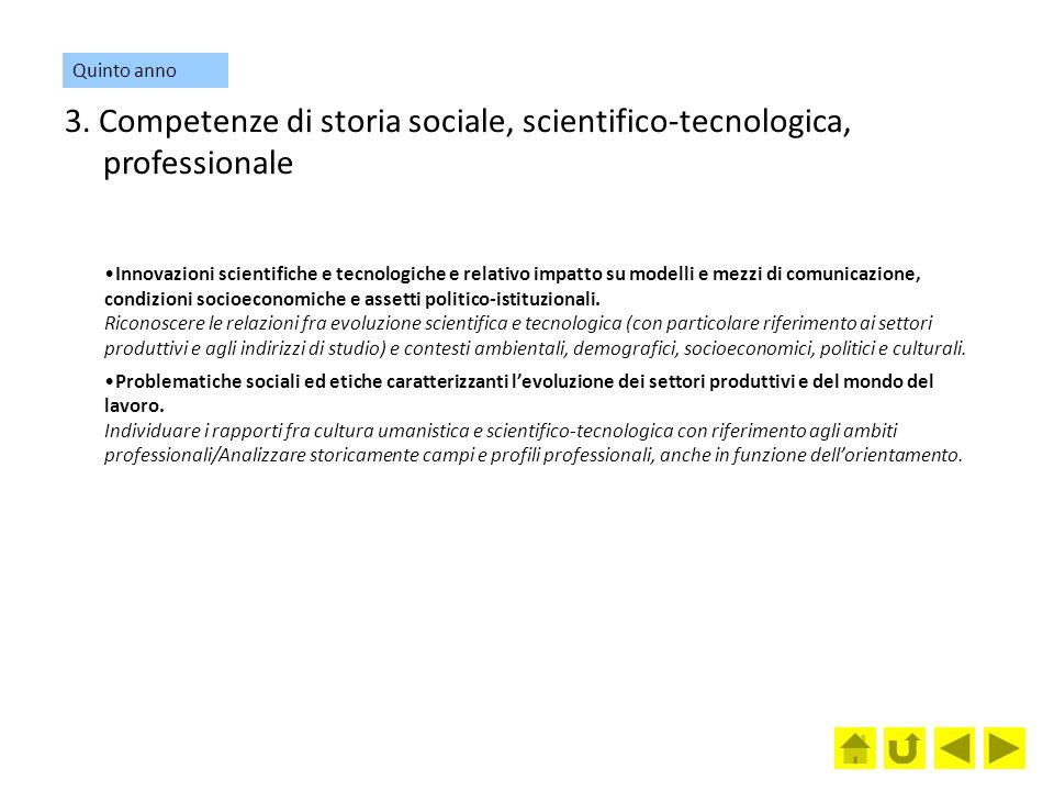 Quinto anno 3. Competenze di storia sociale, scientifico-tecnologica, professionale.