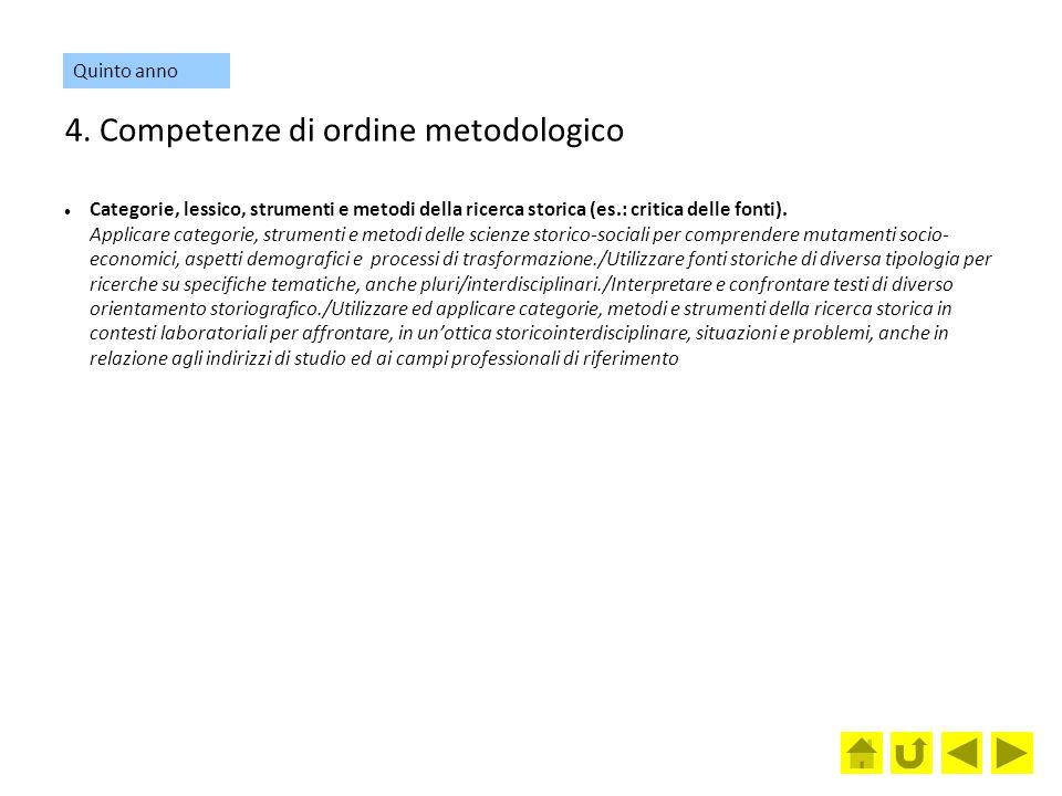 4. Competenze di ordine metodologico