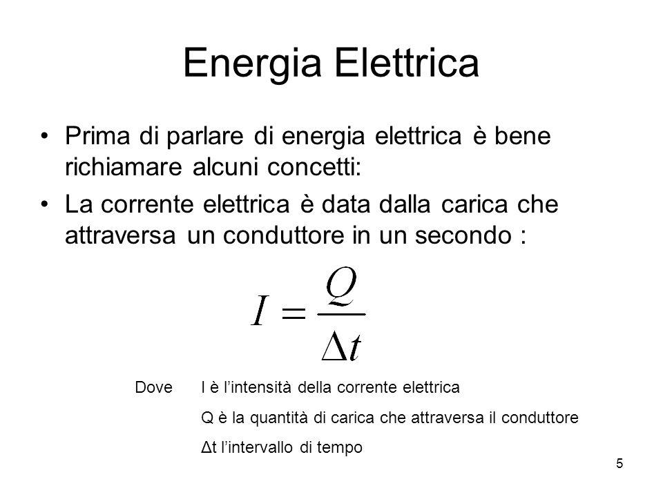 Energia Elettrica Prima di parlare di energia elettrica è bene richiamare alcuni concetti: