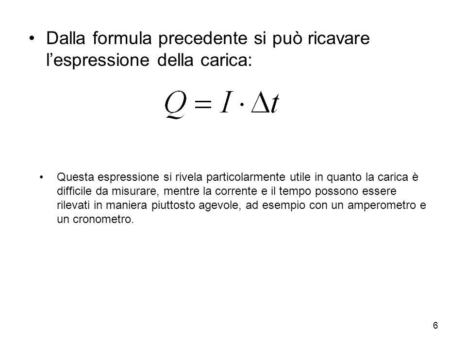 Dalla formula precedente si può ricavare l'espressione della carica: