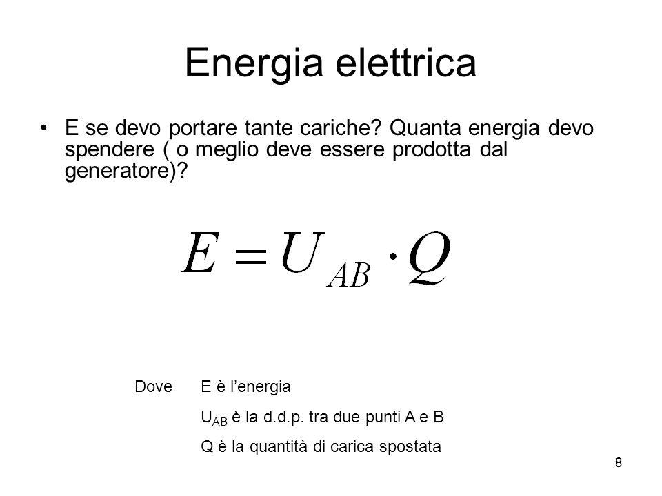 Energia elettrica E se devo portare tante cariche Quanta energia devo spendere ( o meglio deve essere prodotta dal generatore)