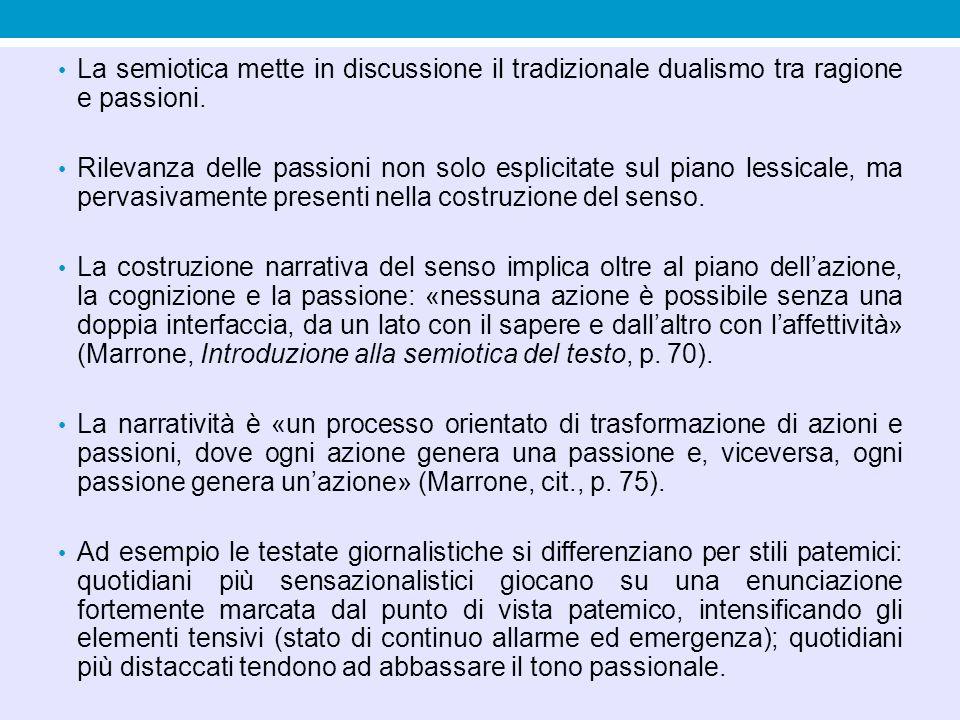 La semiotica mette in discussione il tradizionale dualismo tra ragione e passioni.