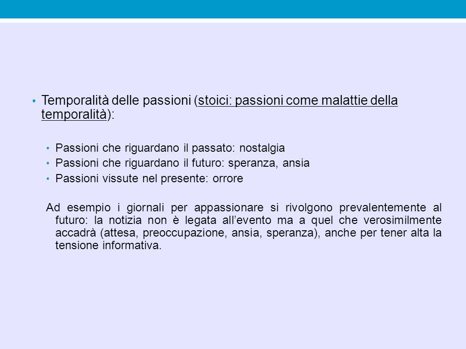 Temporalità delle passioni (stoici: passioni come malattie della temporalità):