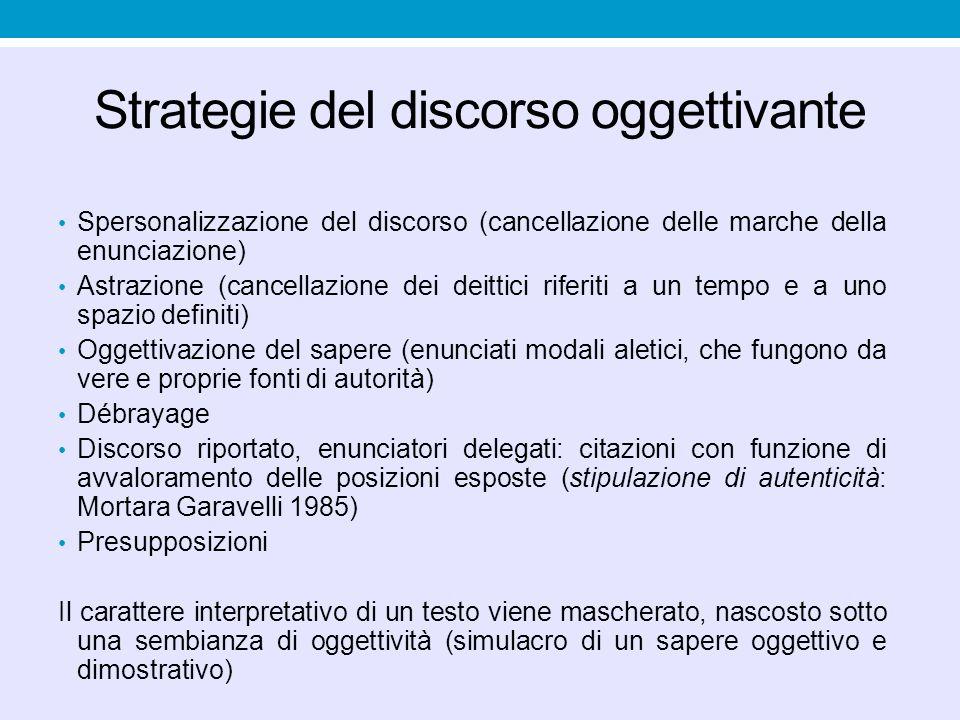 Strategie del discorso oggettivante
