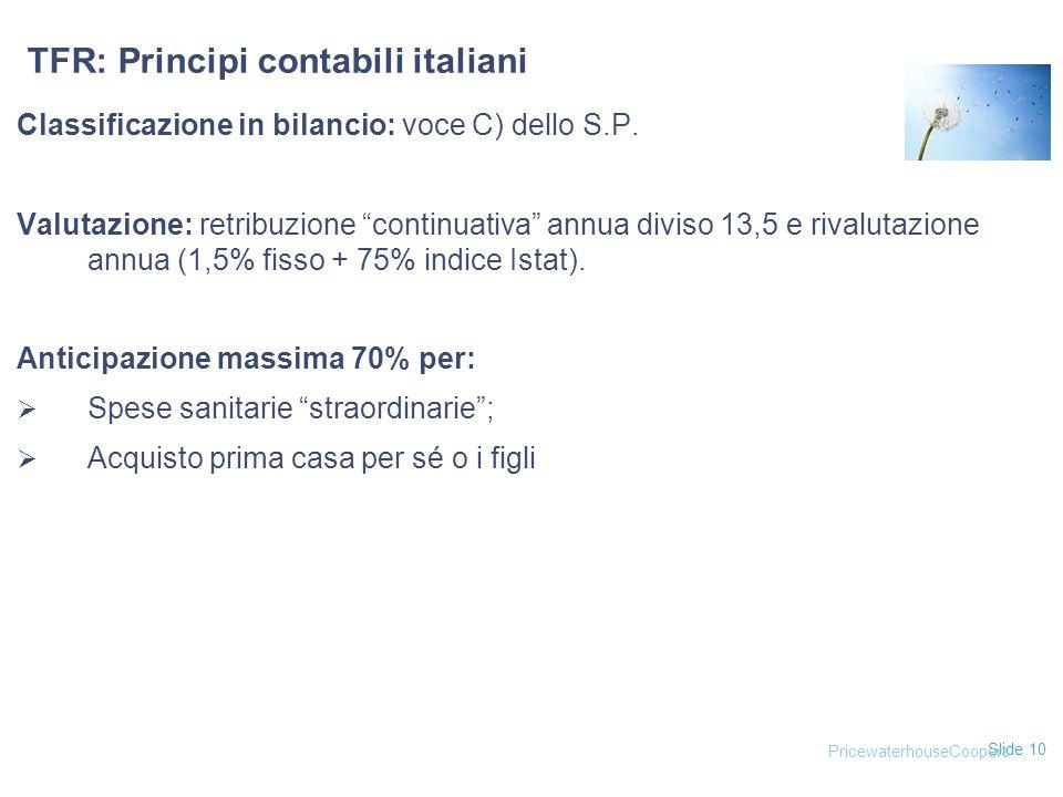 TFR: Principi contabili italiani