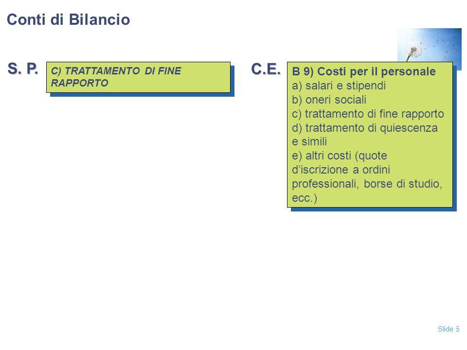 Conti di Bilancio S. P. C.E. B 9) Costi per il personale