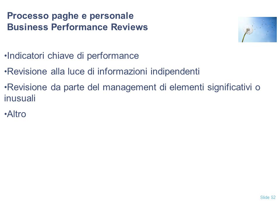 Processo paghe e personale Business Performance Reviews