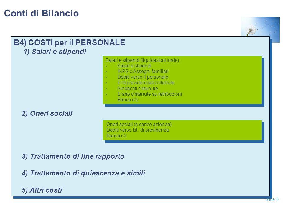 Conti di Bilancio B4) COSTI per il PERSONALE 1) Salari e stipendi