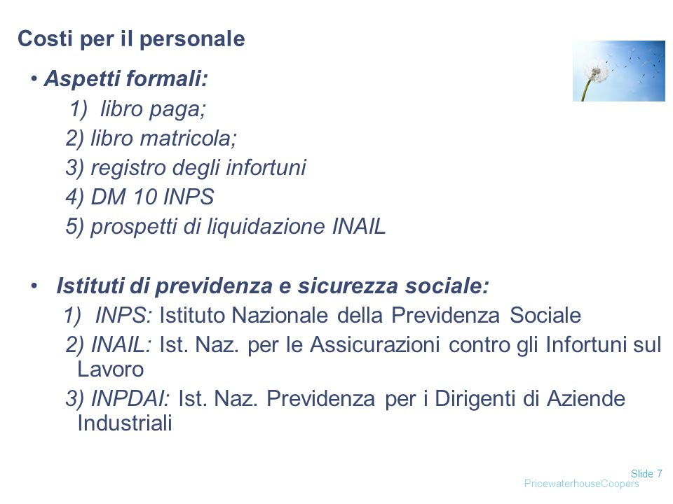 3) registro degli infortuni 4) DM 10 INPS