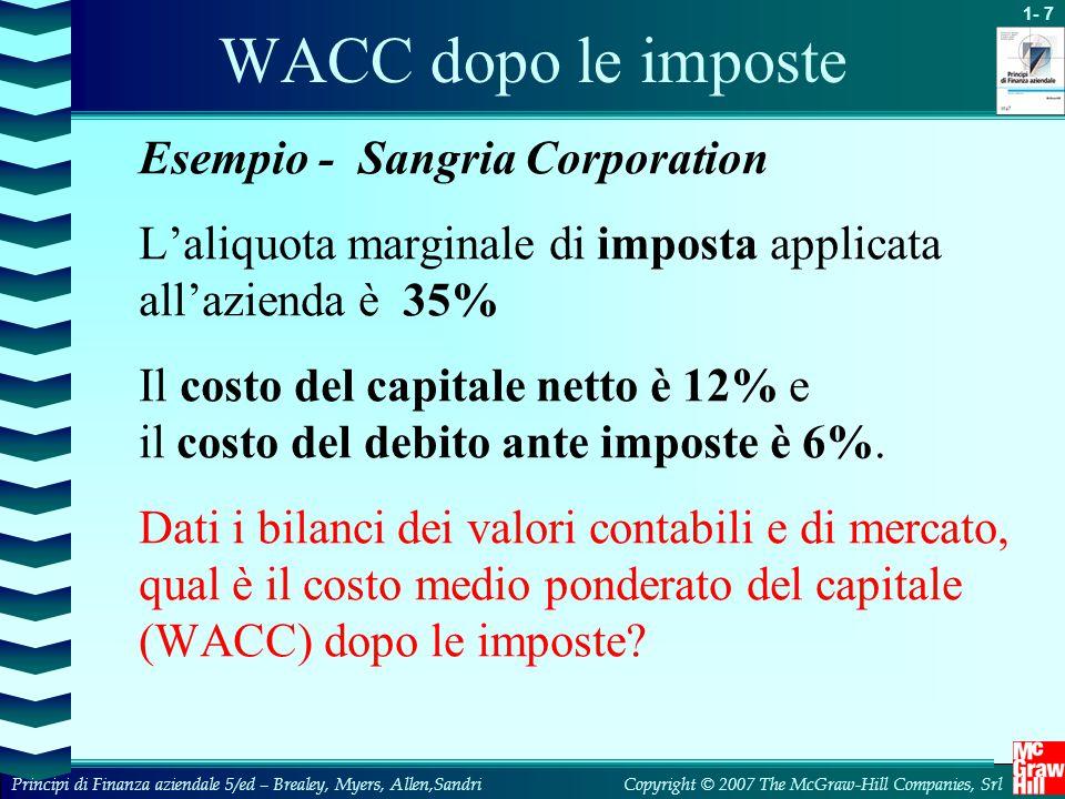 WACC dopo le imposte Esempio - Sangria Corporation. L'aliquota marginale di imposta applicata all'azienda è 35%