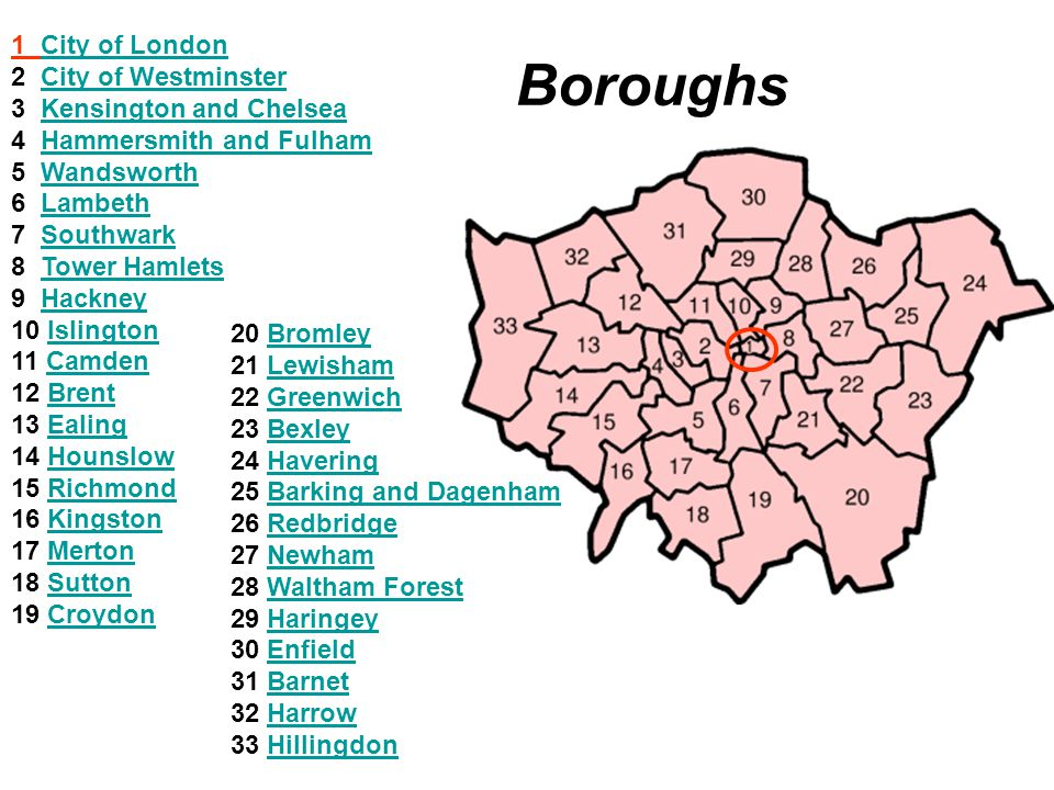 Boroughs 1 City of London 2 City of Westminster