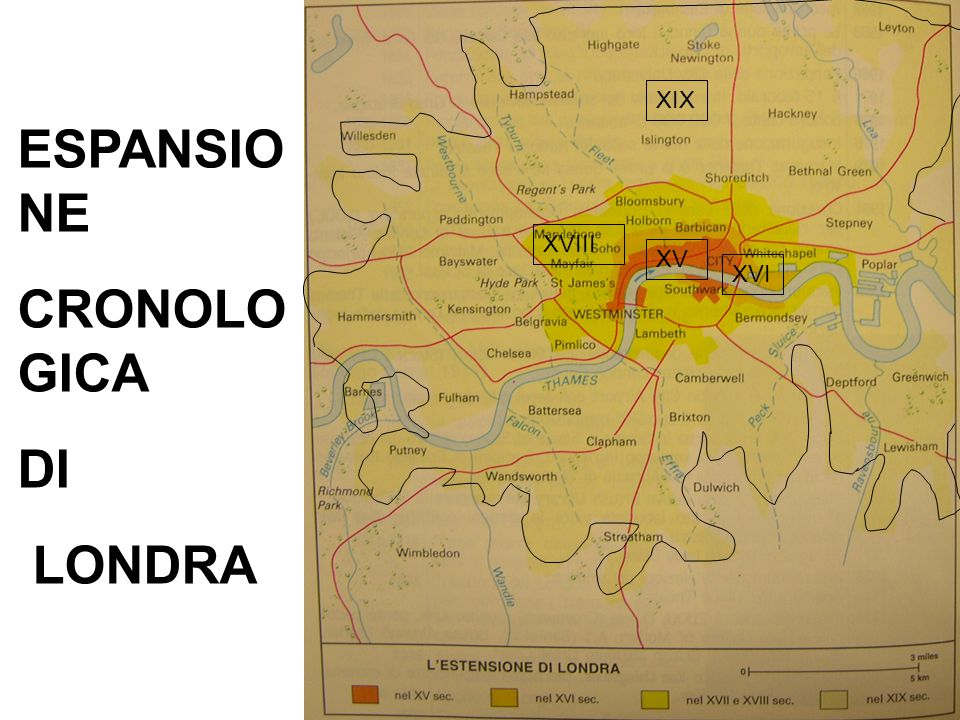 XIX ESPANSIONE CRONOLOGICA DI LONDRA XVIII XV XVI