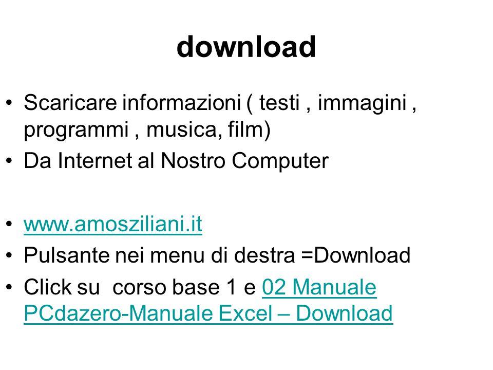 download Scaricare informazioni ( testi , immagini , programmi , musica, film) Da Internet al Nostro Computer.