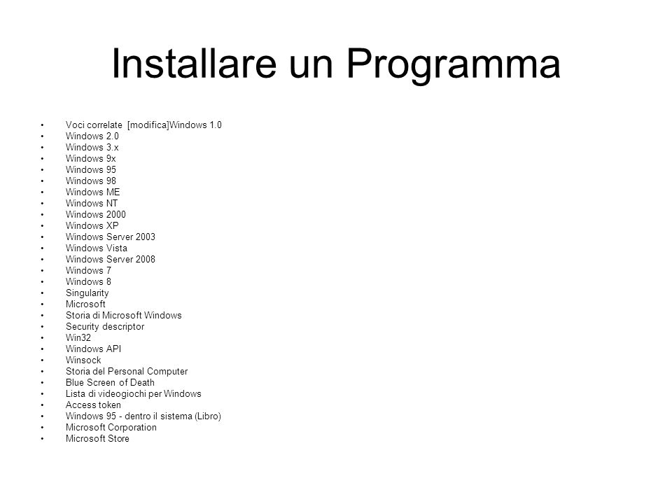 Installare un Programma