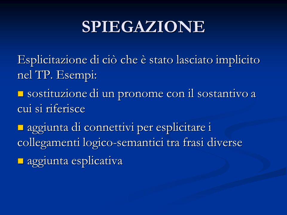 SPIEGAZIONE Esplicitazione di ciò che è stato lasciato implicito nel TP. Esempi: sostituzione di un pronome con il sostantivo a cui si riferisce.