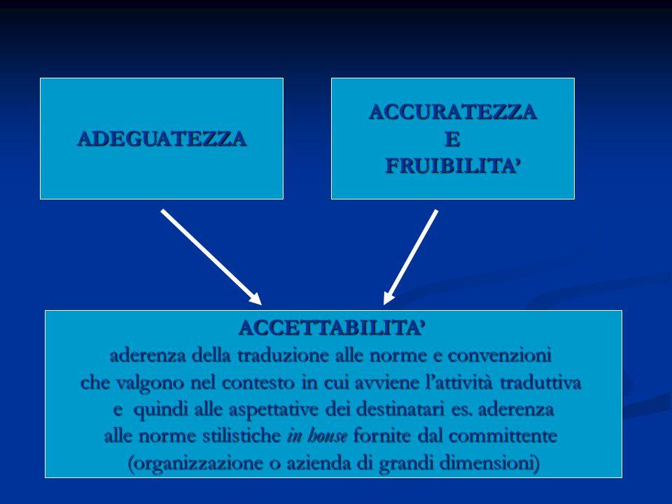 ADEGUATEZZA ACCURATEZZA E FRUIBILITA' ACCETTABILITA'