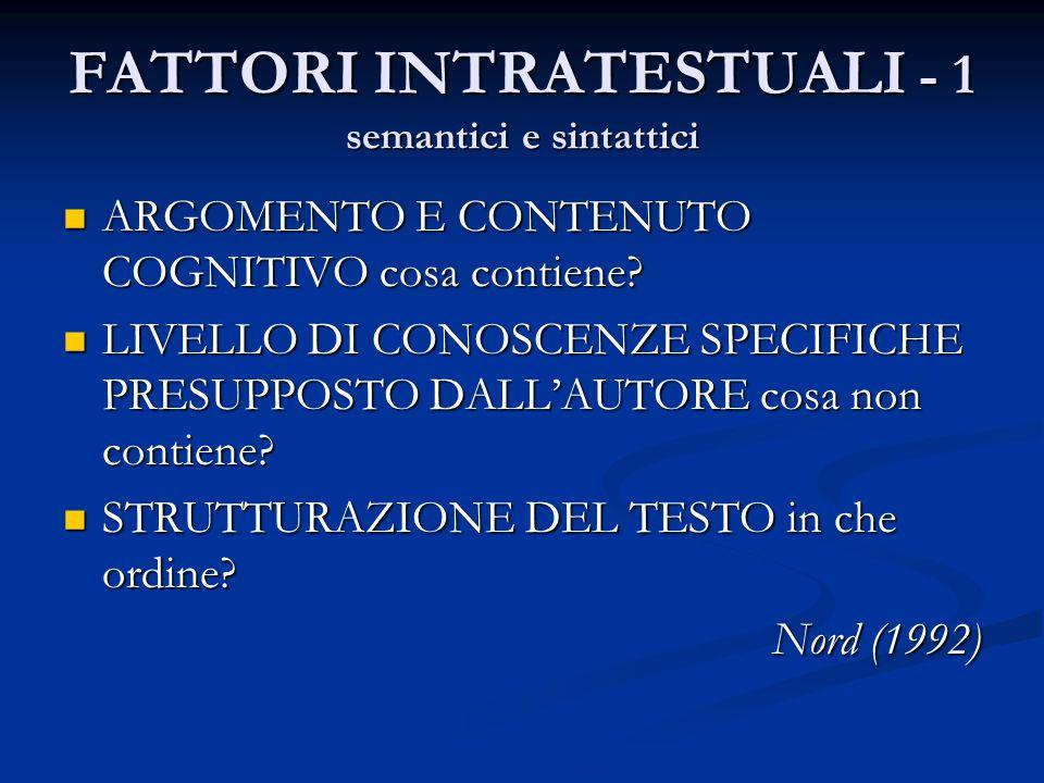 FATTORI INTRATESTUALI - 1 semantici e sintattici
