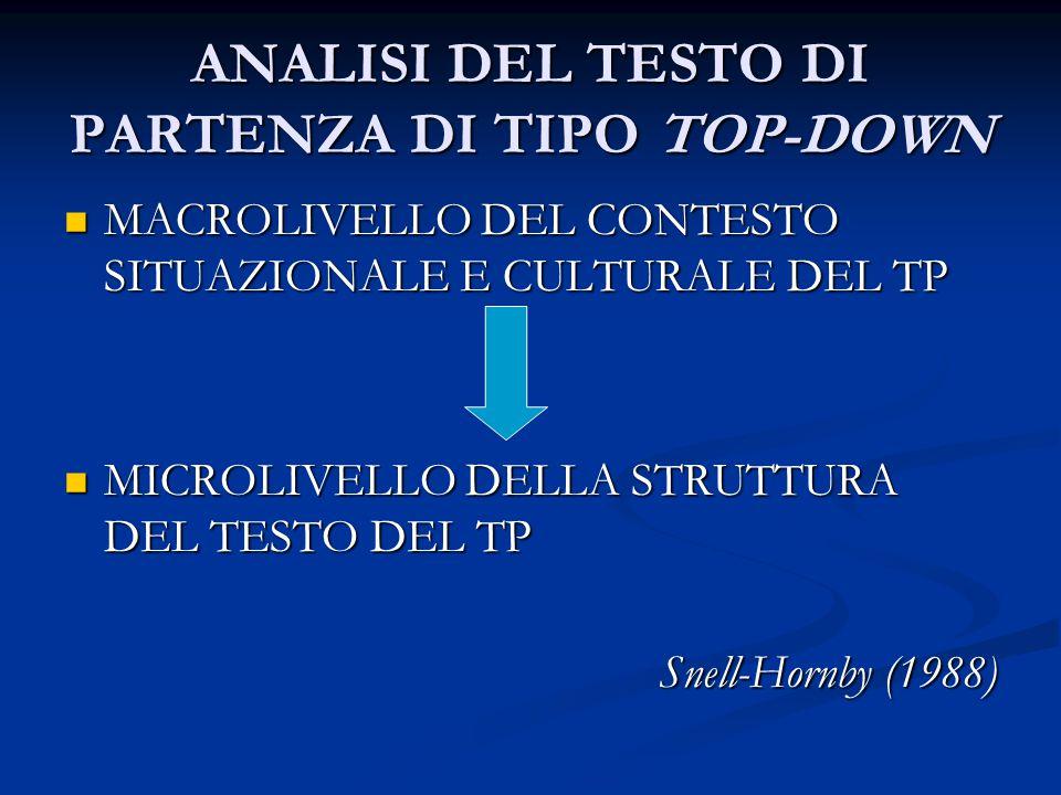 ANALISI DEL TESTO DI PARTENZA DI TIPO TOP-DOWN