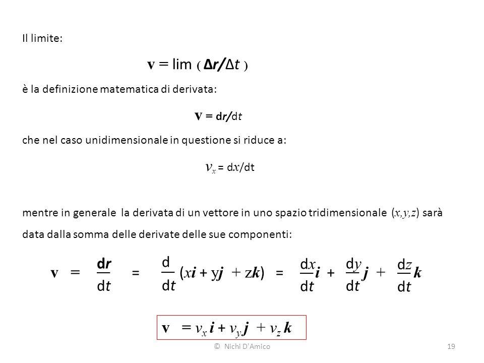 v = lim ( Δr/Δt ) dr d dx dy dz v = = (xi + yj + zk) = i + j + k dt dt