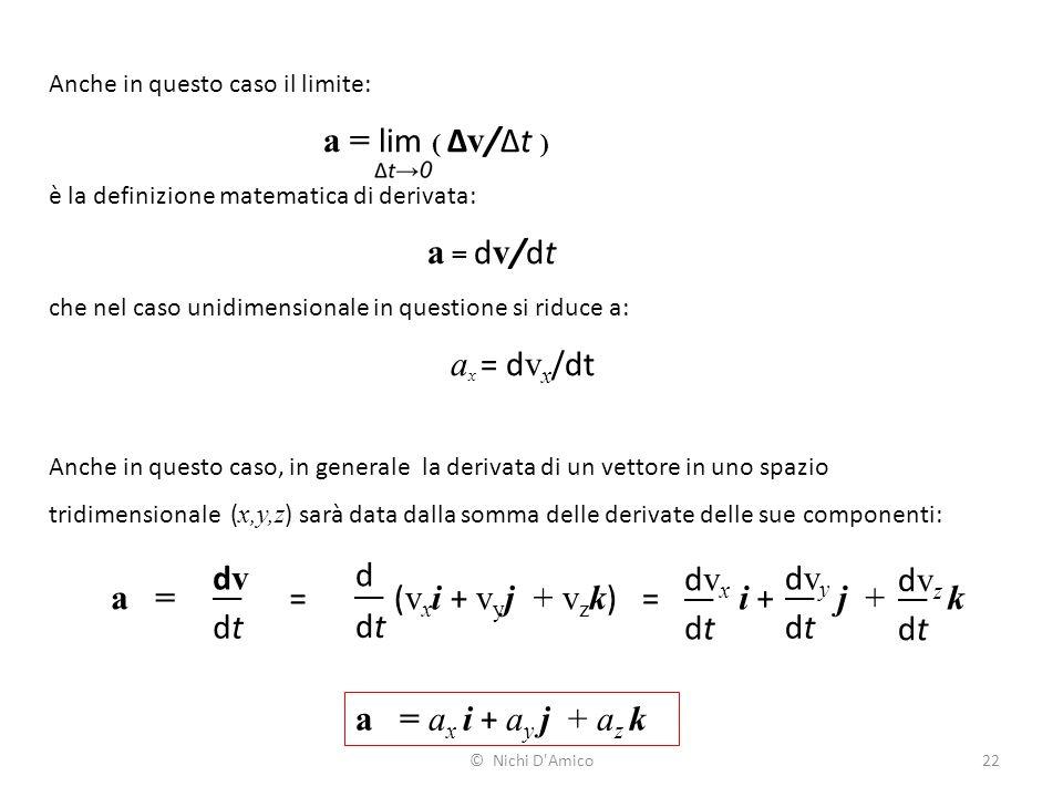 a = lim ( Δv/Δt ) dv d dvx dvy dvz a = = (vxi + vyj + vzk) = i + j + k