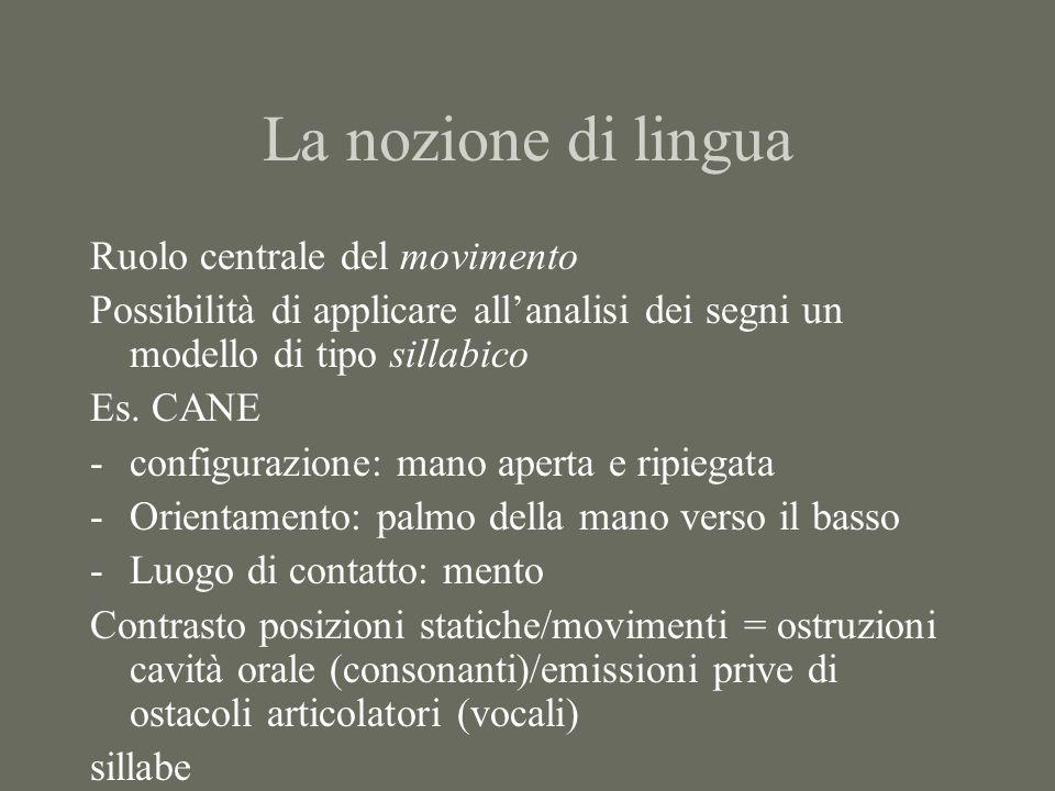 La nozione di lingua Ruolo centrale del movimento
