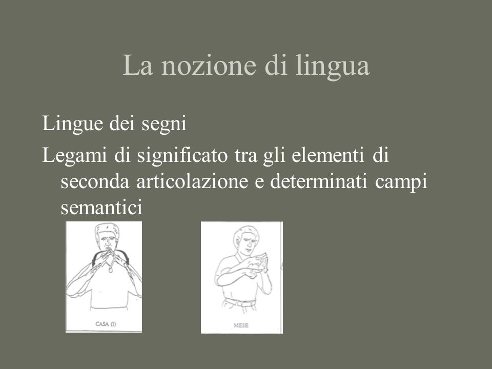La nozione di lingua Lingue dei segni