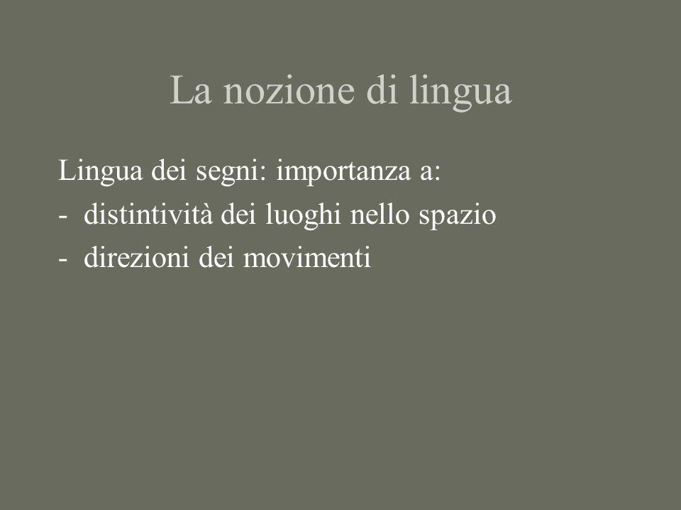 La nozione di lingua Lingua dei segni: importanza a: