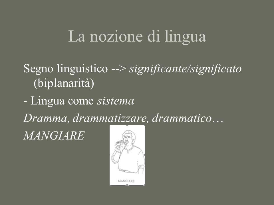 La nozione di lingua Segno linguistico --> significante/significato (biplanarità) - Lingua come sistema.