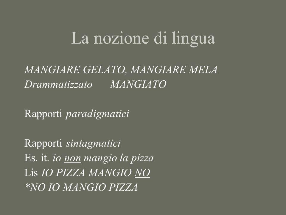La nozione di lingua MANGIARE GELATO, MANGIARE MELA