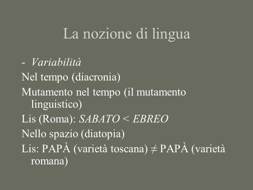 La nozione di lingua Variabilità Nel tempo (diacronia)