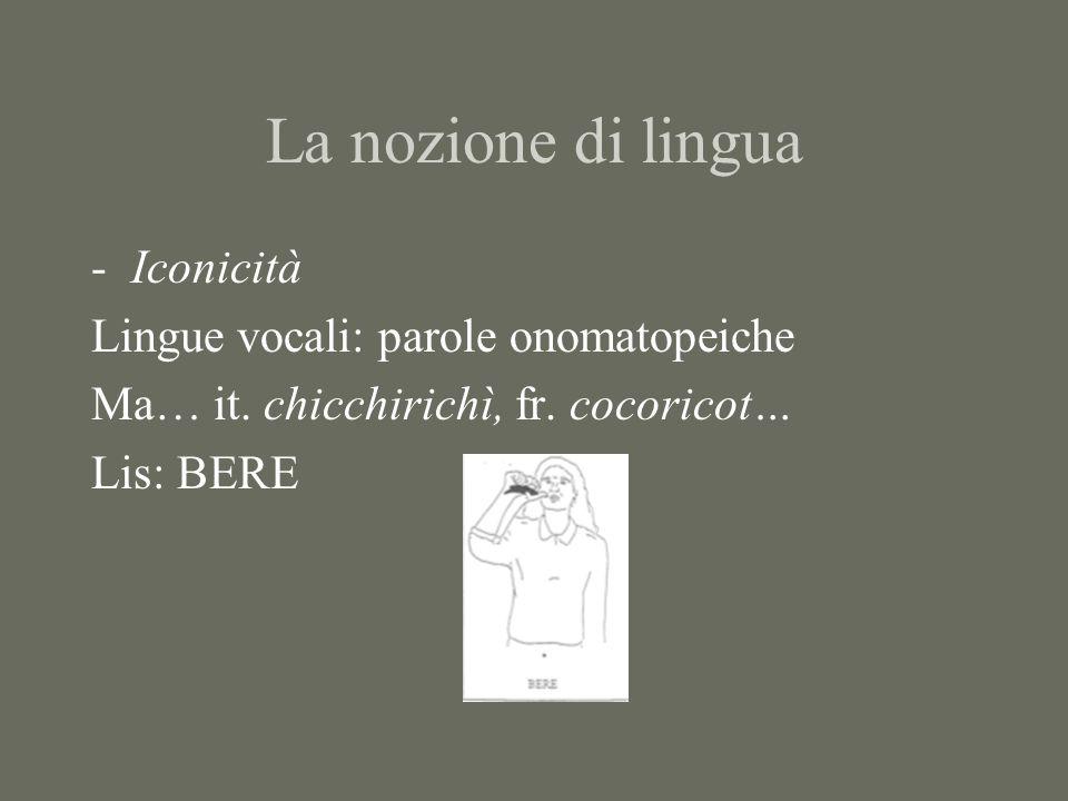 La nozione di lingua Iconicità Lingue vocali: parole onomatopeiche