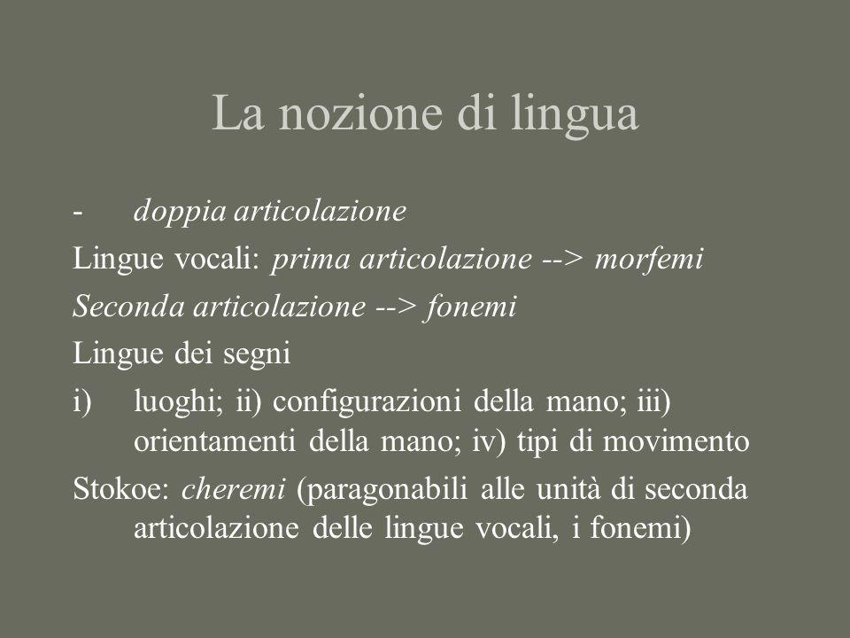 La nozione di lingua doppia articolazione
